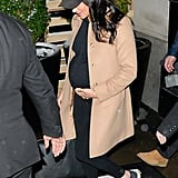 After spending the weekend in New York for her baby shower back in February, Meghan left the Big Apple in a cozy and casual athleisure look, which she finished with a pair of black Adidas Ultra Boost sneakers.