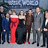Pictured: Jeff Goldblum, director J.A. Bayona, Bryce Dallas Howard, Daniella Pineda, Justice Smith, Chris Pratt, and Toby Jones