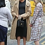 Meghan Markle Work Outfit Idea: A Little Black Dress and Animal Print Heels