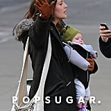 Drew Barrymore held onto Olive during an NYC outing.