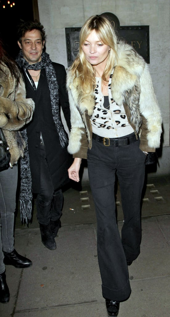 Kate Moss and her husband Jamie Hince went out to dinner at London's Wolseley on Saturday night. Joining the couple for the meal was Jamie's bandmate from The Kills, Alison Mosshart. Kate, Jamie, and a pink-haired Alison waited outside afterward then hopped into a taxi together. Jamie and Kate are heading into their first holiday season as a married couple, though it's their fourth since getting together back in the Fall of 2008. Their July nuptials were among our favorite celebrity weddings of 2011, and there will be more excitement for Kate and Jamie in the coming months. Construction is reportedly almost done on their new North London home, and Kate even has a special calendar all ready to hang up inside. Kate Moss got a signed 2012 calendar from Mark Wright, a British reality star she's obsessed with from the show The Only Way Is Essex.