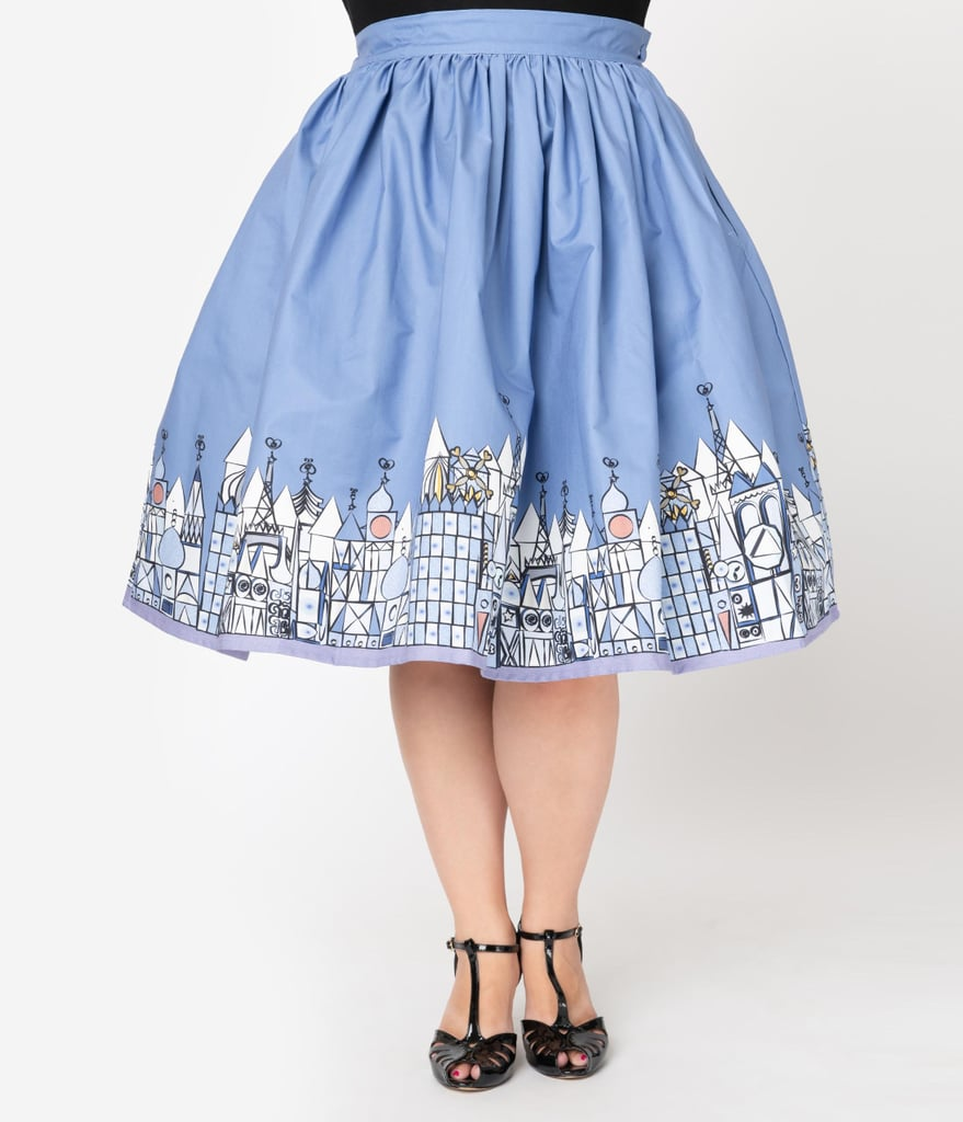 Unique Vintage Little City Print High Waist Circle Swing Skirt