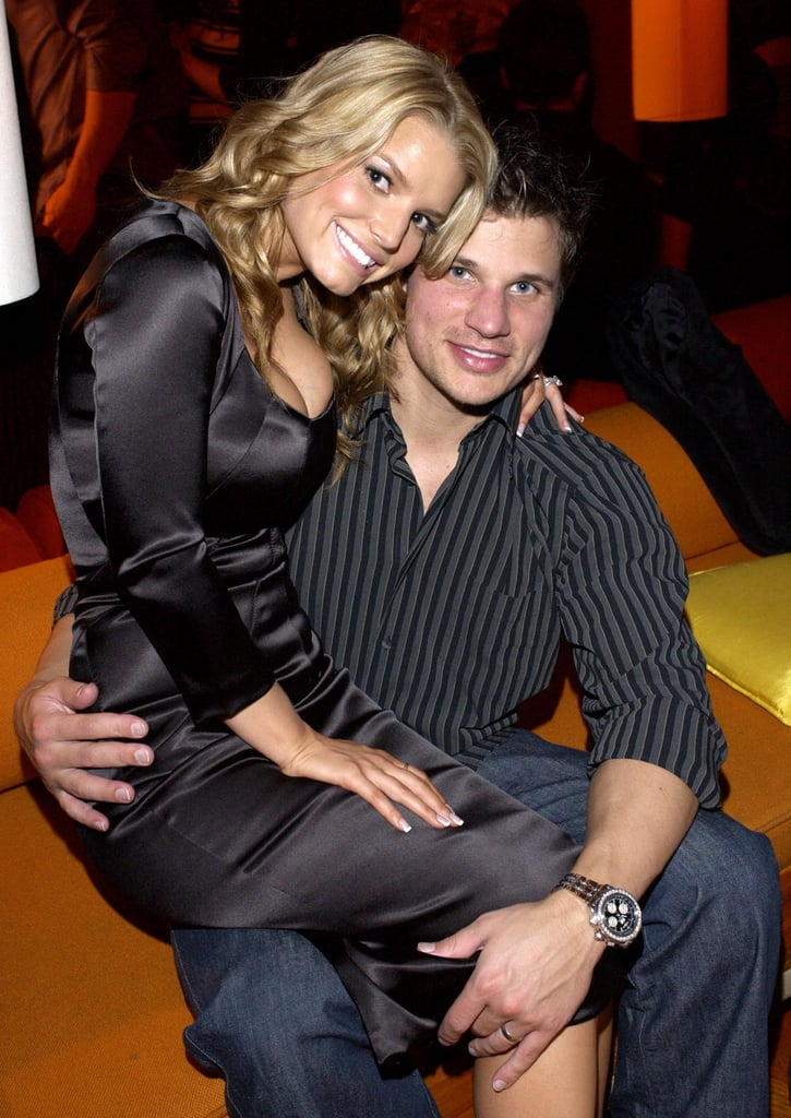 Jessica sweetly sat on Nick's lap during an award show in January 2003.