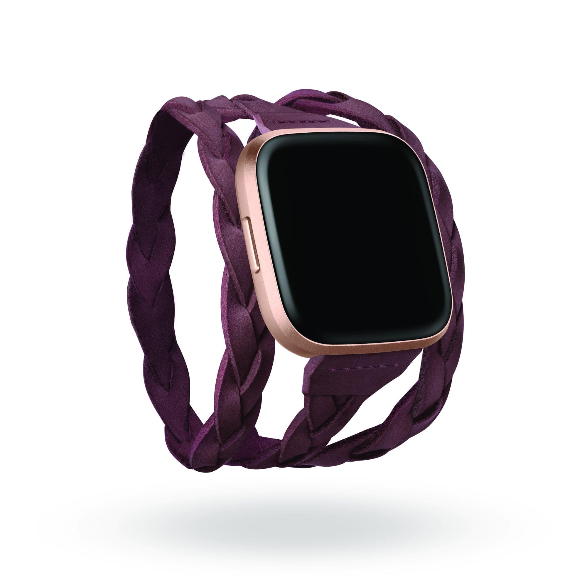 Fitbit x Kim Shui suede wrap bracelet in Merlot.