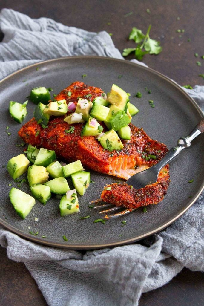 Blackened Salmon With Cucumber-Avocado Salsa