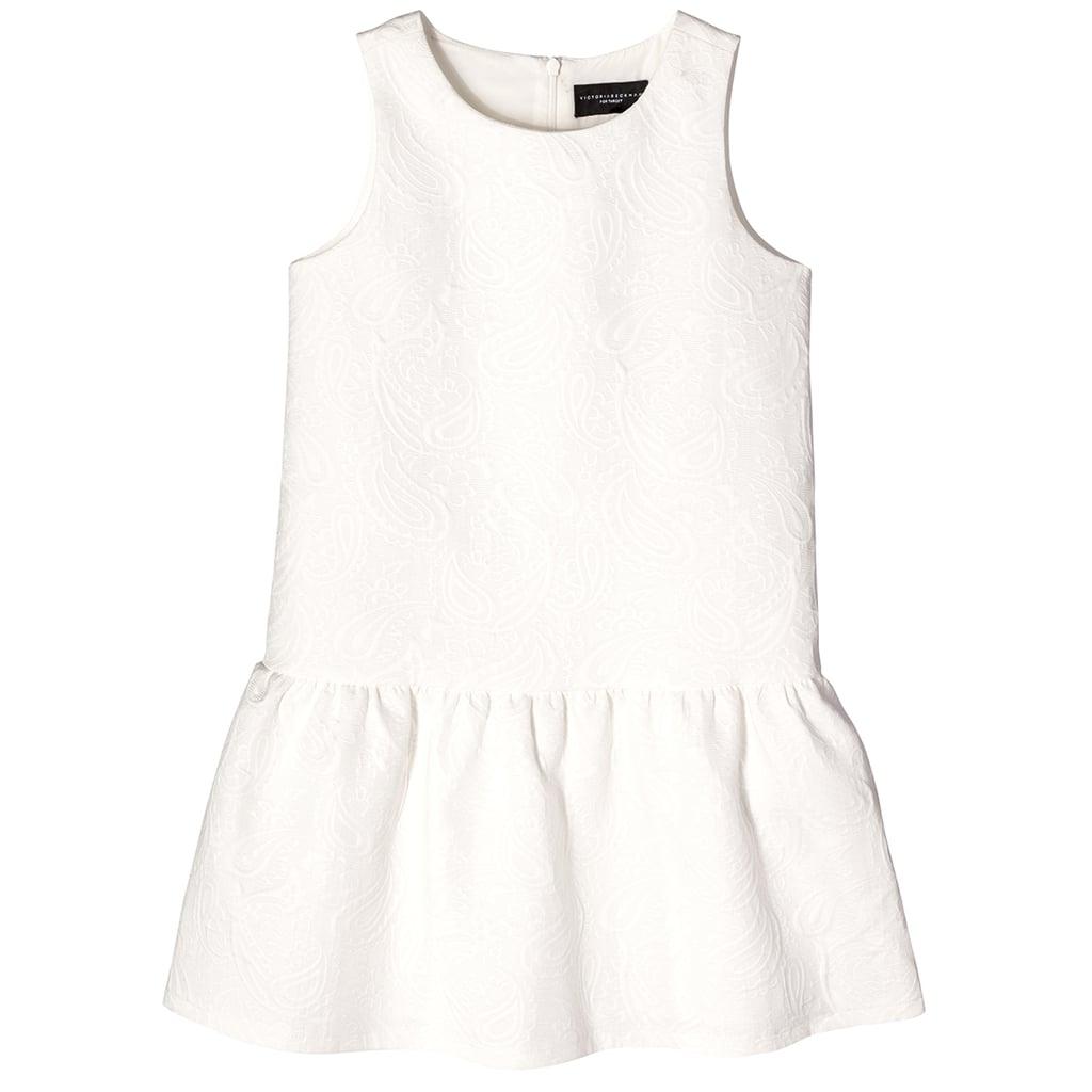 Girls' White Floral Jacquard Drop Waist Dress  ($28)