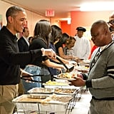 When he served Thanksgiving meals to homeless veterans in Washington DC