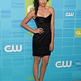 For a quirkier feel, Nina added a pretty blue feather to her hair at The CW's 2010 upfronts.