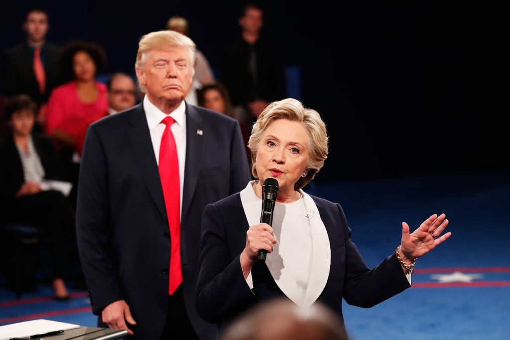 The second presidential debate began with a noticeably absent handshake between Hillary Clinton and Donald Trump, and what followed in the next 90 minutes was a roller coaster of emotions. This was a contentious debate filled with highs, lows, and a whole lot of cringeworthy photos. Between Trump's facial expressions as he paced around the podium and Clinton's satisfied smirk, these photos are priceless. Keep reading to see the best (most hilarious) moments captured from the presidential debate, and good luck keeping a straight face.       Related:                                                                The Best Tweets From the Second Presidential Debate                                                                   The 1 Moment Everyone Noticed at the Beginning of the Debate
