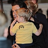 John Travolta carried his son Benjamin to the car at the Karlovy Vary International Film Festival on Saturday in the Czech Republic.
