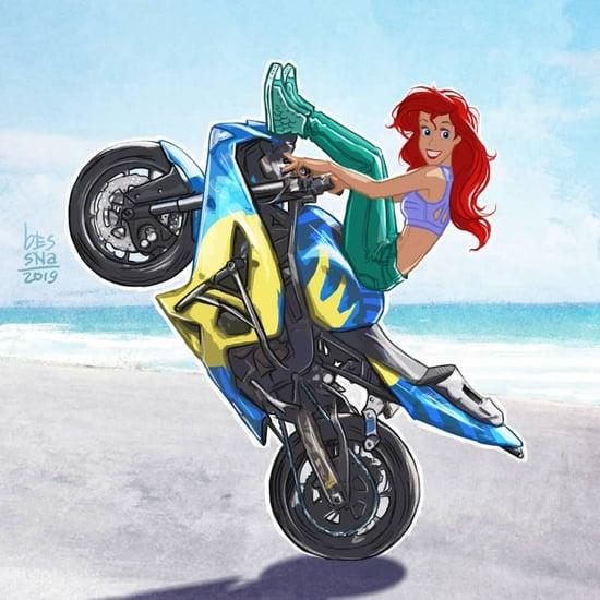 Disney Princesses Riding Motorcycles Artwork