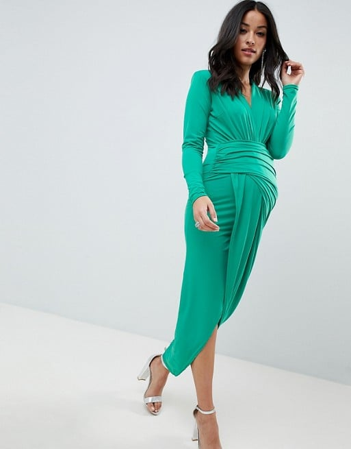 347a25076d41 Queen Bee Plunge Front Wrap Maxi Dress in Green | Black Tie ...