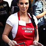 She served Thanksgiving dinner at the Los Angeles Mission in November 2011.