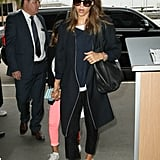 It doesn't matter what you wear underneath: Jessica Alba proved a chic jacket and some white kicks can quickly transform even the most casual of looks.