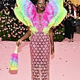 So Camp: Lupita Nyong'o in an Exaggerated Rainbow With Drag-Inspired Makeup and Afro Picks