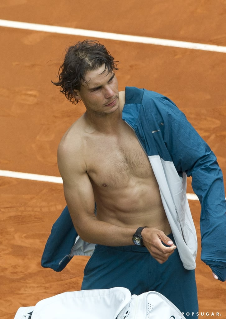 Rafael Nadal played in the Madrid Open in May and flashed his toned midsection after the match.