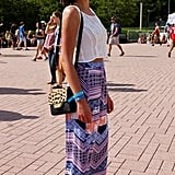 We love the comfy feel this attendee opted for with an Anthropologie maxi skirt and red Keds.