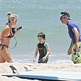 Ben Stiller and Christine Taylor hung out with son Quinlin on the beach in Kauai.