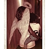 Beyoncé Knowles dressed as an angel (we can see her halo!) while her daughter Blue Carter went as a baby bee. Source: Instagram user beyonce