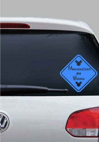 Mousketeer on Board Window Cling