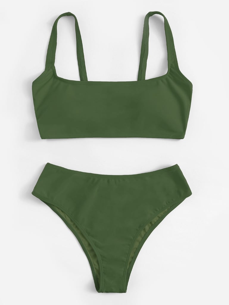Shein Scoop Neck Top With High Waist Bikini Set