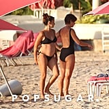 Penélope Cruz showed off her baby bump in a black bikini in Barbados.