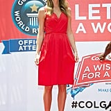 Stacy Keibler stood out in a bright red dress and nude sandals at an event in NYC.
