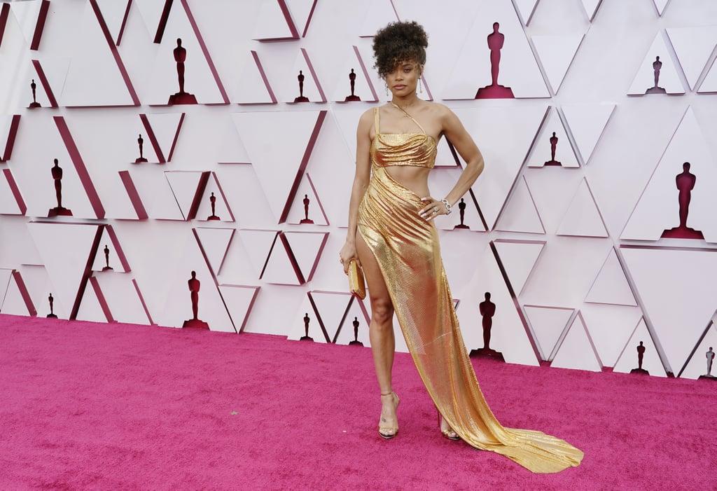 See Andra Day's Gold Cutout Dress at the 2021 Oscars