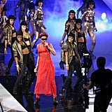 Rihanna wore a red number for her performance.