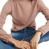 Madewell Bubble Sleeve Heathered Swing Turtleneck