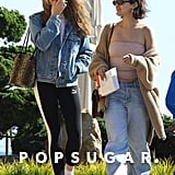 Selena paired her Free People tube top with the brand's Starling Cashmere Cardi and wide-leg jeans by Zee Gee Why. She accessorized with a pair of Roberi & Fraud sunglasses.
