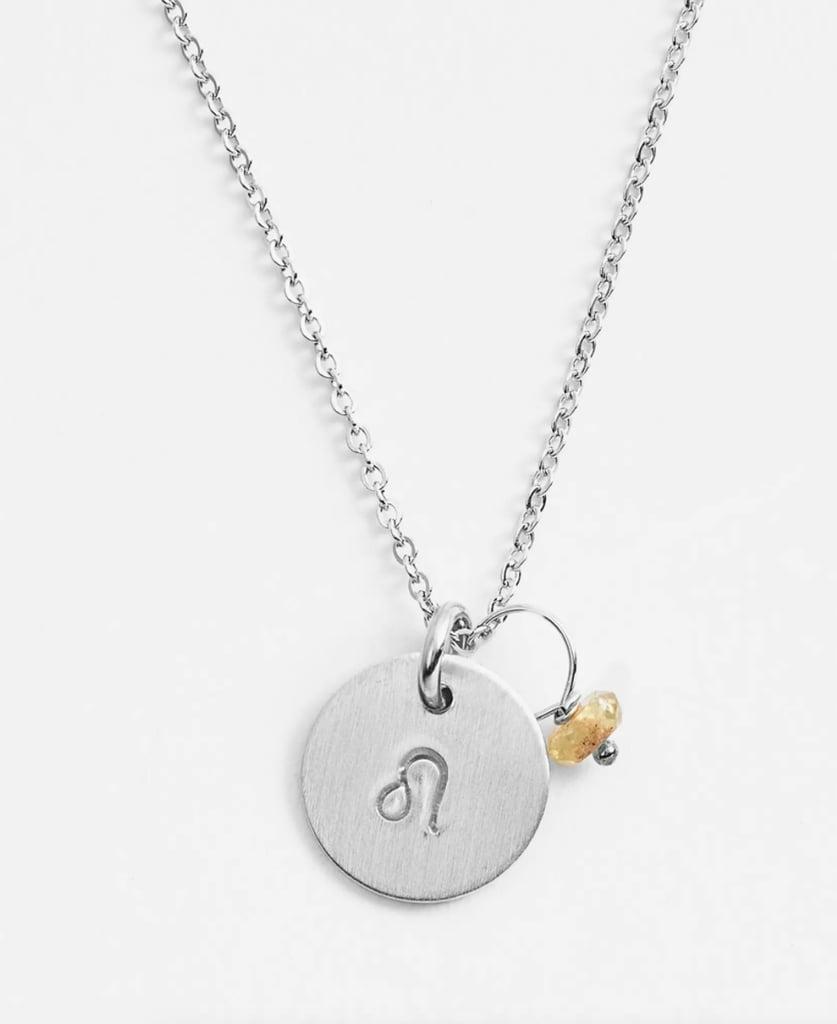 Nashelle Semiprecious Birthstone Sterling Silver Zodiac Mini Disc Necklace