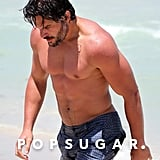 Joe Manganiello went shirtless on the beach.