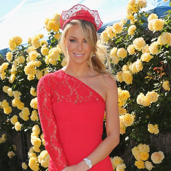 Jennifer Hawkins In Red Yeojin Bae Dress At Melbourne Cup