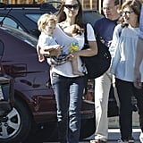 Natalie Portman kept it casual in jeans and a t-shirt as she walked with Aleph Millepied.