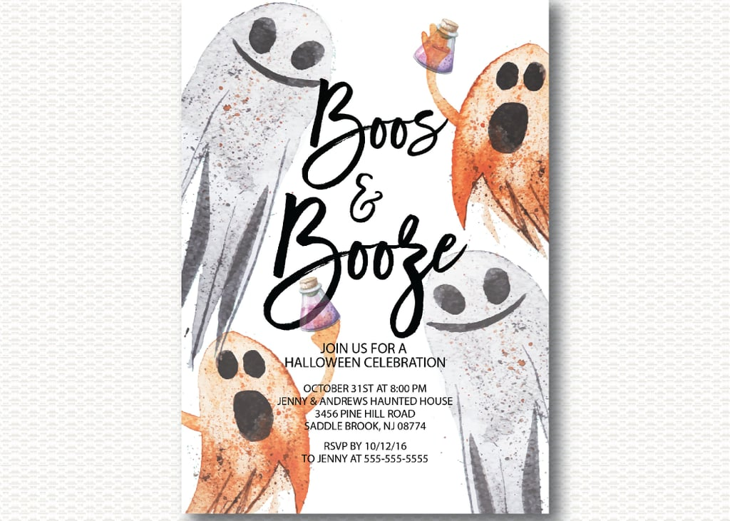 Boos & Booze Halloween Party Invitation ($15) | Printable Halloween ...