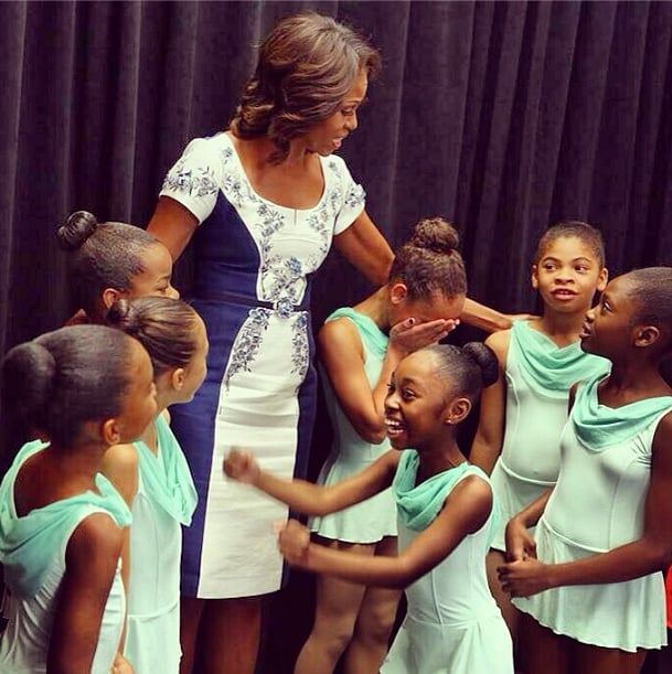 Michelle Obama was at her most (first) ladylike in Carolina Herrera. Source: Instagram user michelleobama