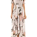 Yibu Apparel Women's Summer Short Sleeve Floral Off Shoulder Maxi