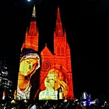 St. Mary's Cathedral in Sydney, Australia, showed Christmas images for the holidays.