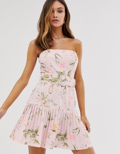 ASOS DESIGN Floral Bandeau Belted Pleated Dress
