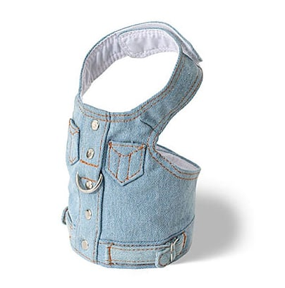 When the temps rise, swap your pooch's darker denim for lighter versions. This denim vest harness ($17) would be a perfect transitional piece for your dog's closet.
