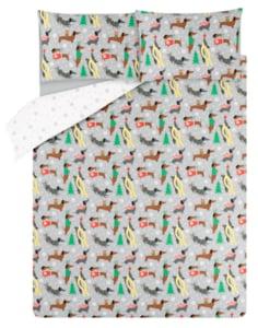 George Home Grey Christmas Sausage Dog Easy Care Duvet Set