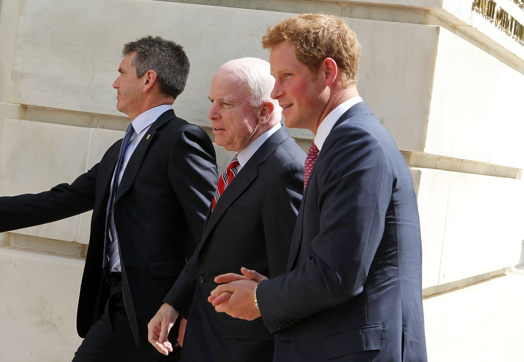 Prince Harry teamed up with John McCain for a political visit in Washington DC on Thursday.