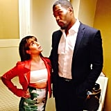 She laughed off her short stature by posing with Michael Strahan backstage at Live With Kelly and Michael in May 2014.