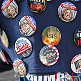 Anti-Hillary Clinton and anti-ISIS pins were ubiquitous.