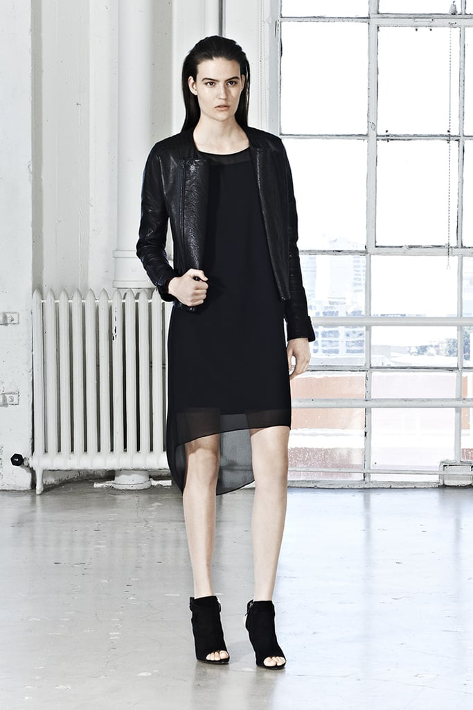All black is chic year-round. For Spring, balance out your LBD with a tough leather jacket and peep-toe booties.