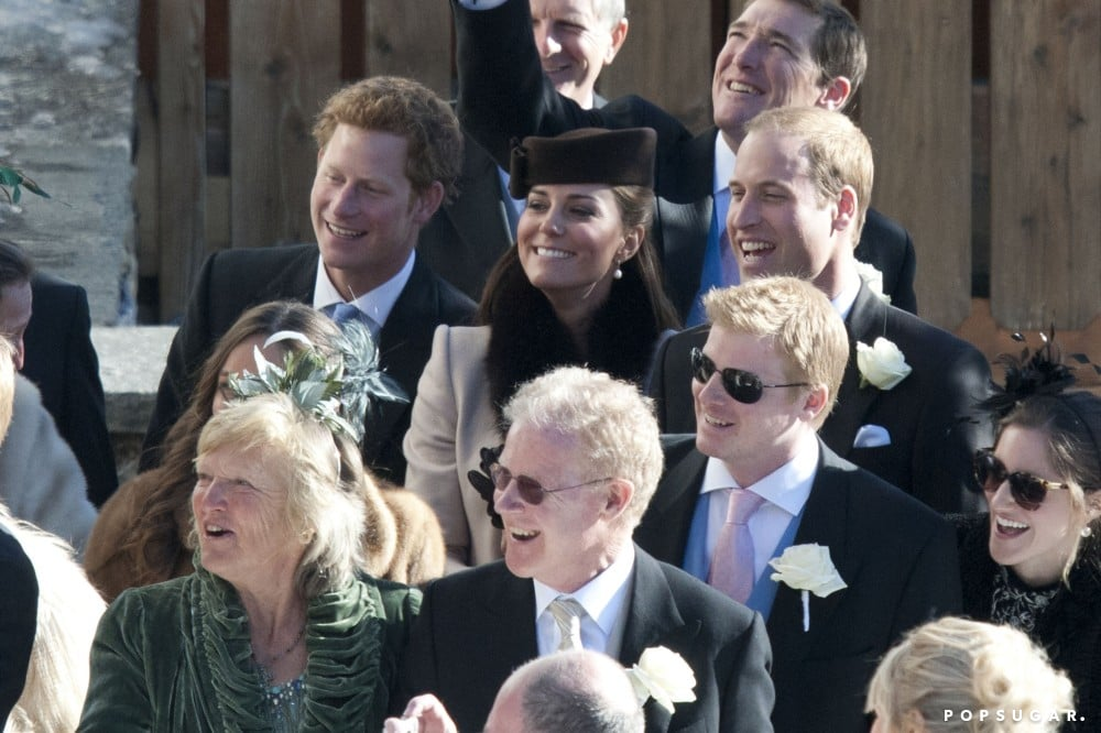 Prince Harry joined Prince William and Kate Middleton at a friend's wedding in Switzerland in March.