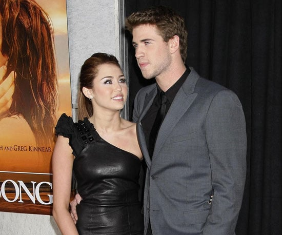 Slide Photo of Miley Cyrus and Liam Hemsworth at The Last Song Premiere in LA