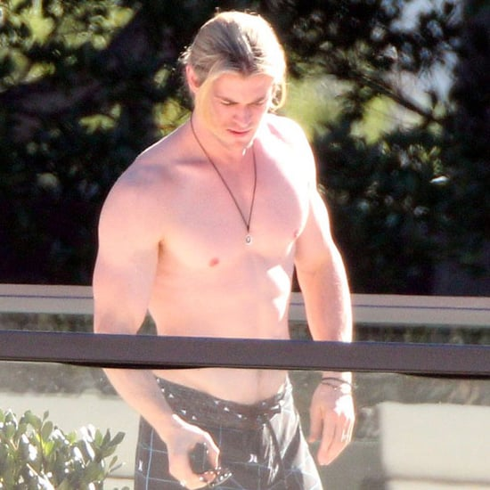Chris Hemsworth Shirtless Pictures in Sydney on Father's Day