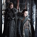 "Williams on growing up while playing Arya Stark: ""I was becoming a woman and then having to wear this thing that's kind of like what the queen does — I think the queen has to have a bra that pushes her tits under her armpits. And it got worse, 'cause it kept growing, and they put this little fat belly on me to make it even out. I was, like, 15: 'I just wanna be a girl and have a boyfriend!' That was when it sucked. The first time they gave me a bra in my trailer, I was like, 'Yes! I'm a woman!'"" Turner on Williams's difficulty playing Arya: ""She [was] going through all these changes, and yet she has to still look like a child and cut her hair short and look completely different to how she's feeling inside. I think she really envied me because I got to wear the dresses and have nice makeup and nice hair. And I wanted the trousers and the boyish clothes!"""